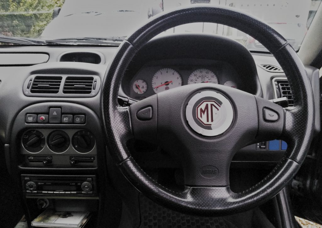 A previous owner replaced the Rover dash with an MG dashboard and steering wheel.