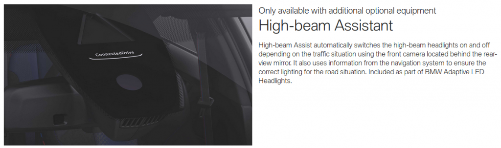 "BMW provides you with ""High-beam Assistant"" on the new 1 Series. You know, in case you can't work out if it's not dark enough for your high beams or not."
