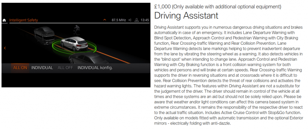 BMW also provide you with the Driving Assistant for £1,000. When you're too posh to use your mirrors or stay in lane.