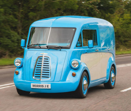 The Morris Commercial JE Electric Van in action