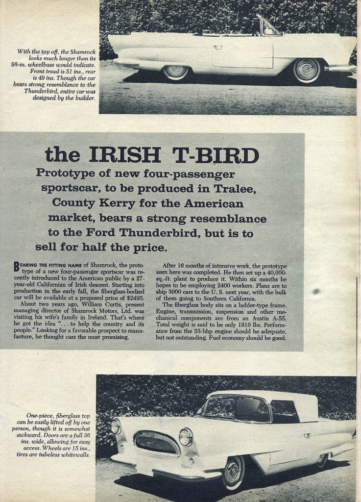 As you can see, the Shamrock was being positioned as an alternative to the Ford Thunderbird.