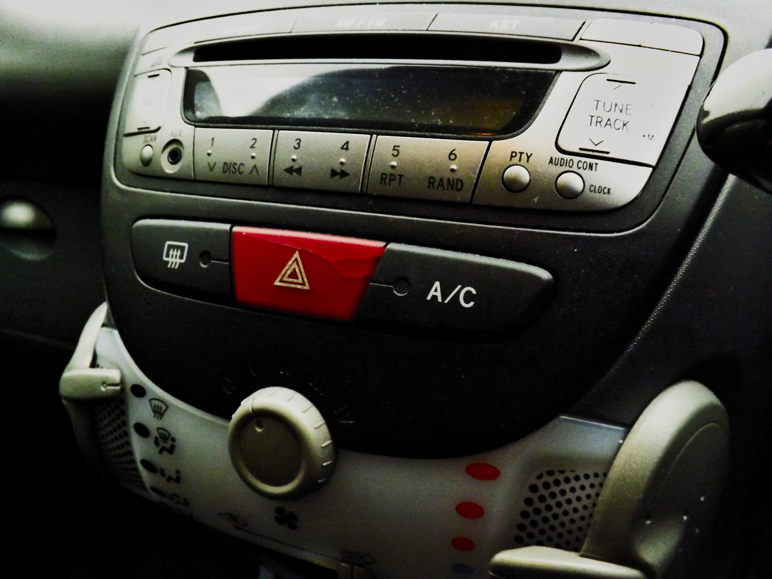 Cracked hazard light switch is a common problem with the Peugeot 107.
