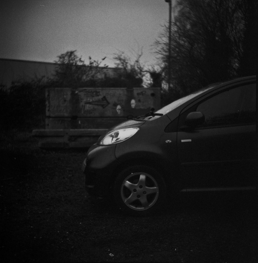 An obligatory arty shot of my Peugeot 107. Not taken with a digital camera, an actual film camera!
