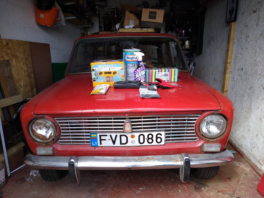 Cleaning products and beer, all needed for cleaning my Lada 2101