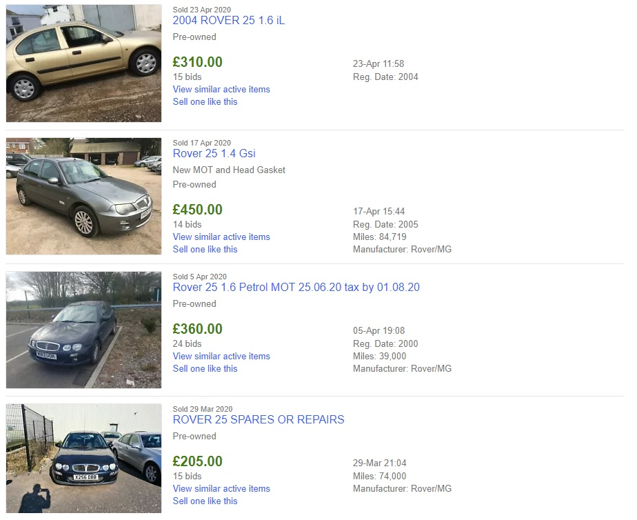 The equivalent Rover 25 search brings up far more bargains than the Ford Focus search does. I quite like that Rover 25 1.4 Gsi, even if it is just a 1.4!