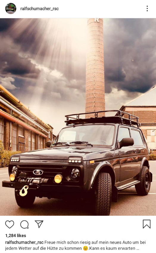 """Ralf Schumacher's brand new Lada Niva for his Schumacher Wines business. """"I'm really looking forward to my new car to get to the hut in any weather. Can not hardly wait..."""""""