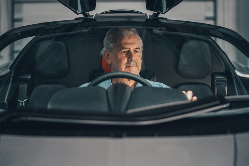 Gordon Murray behind the wheel of his T.50. The best engineer, designer, visionary of Formula One.