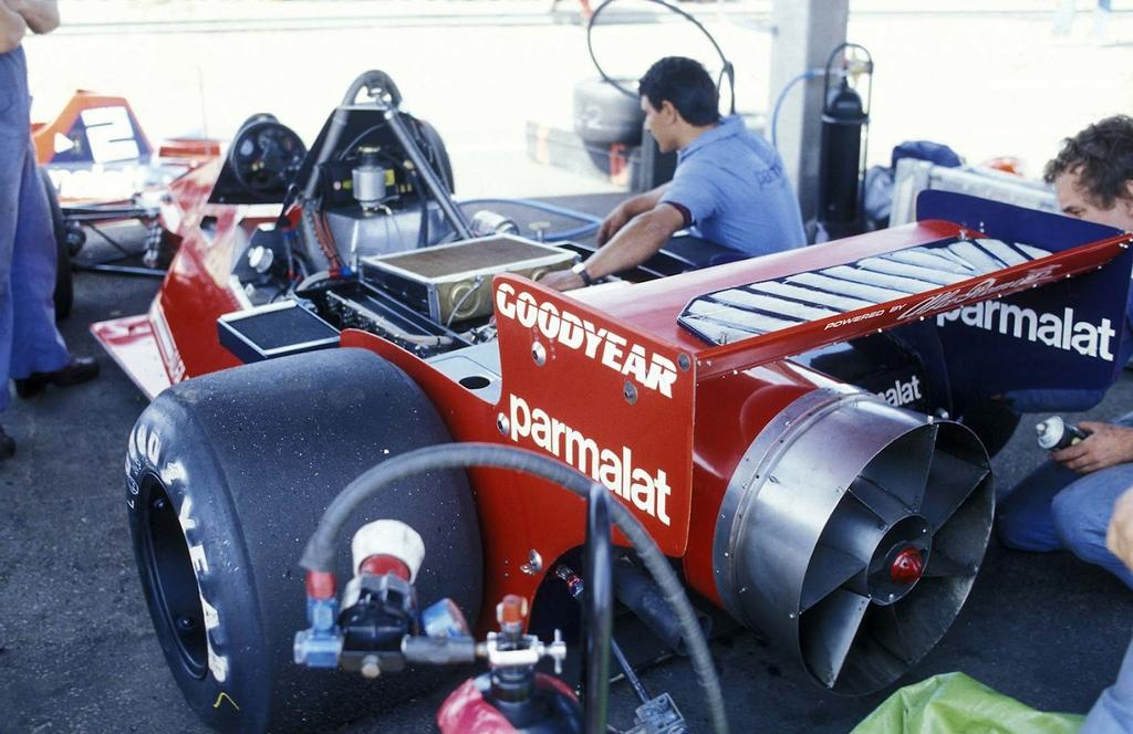 The Brabham F1 car, currently F1's only fan car to ever race, let alone win!