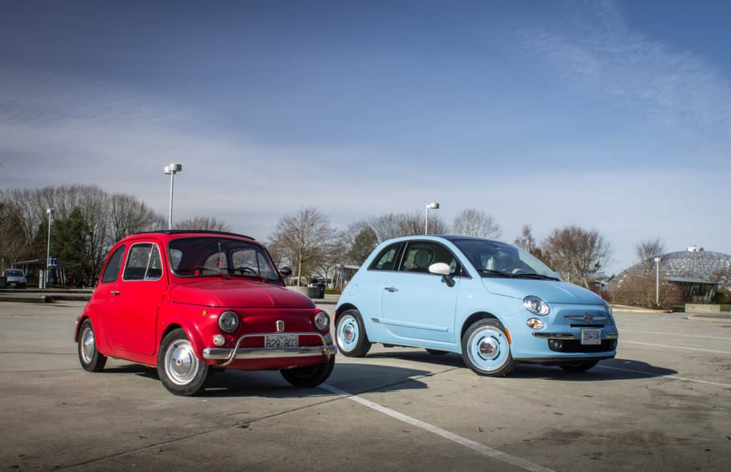 The old Fiat 500 against the new Fiat 500. Bloated yet again, and without the reliability of the Peugeot 107!