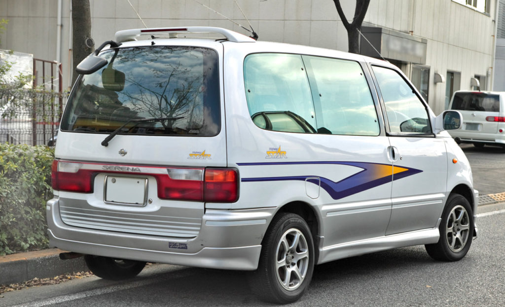 Because of it's van origins, the Nissan Serena C23 offers a good amount of practicality. The stickers, though, don't add any horsepower to the driving experience. Notice the analogue rear view camera above the rear window!
